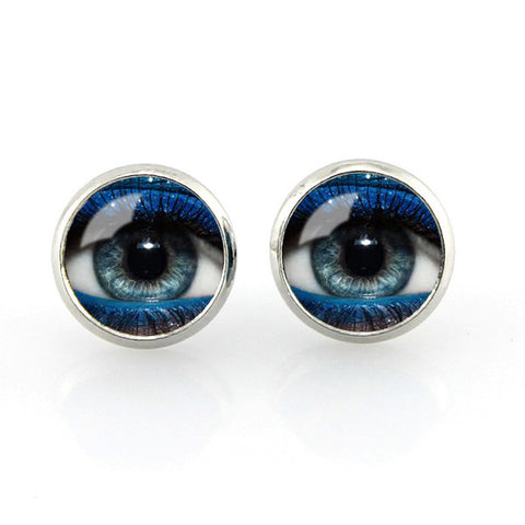 Free shipping,Blue eyes Stud earrings vintage eyeball photo glass ear pendant women jewelry dragon jewellery gifts,12 mm Women fashion girl Jewelry Glass handmade,Custom Picture