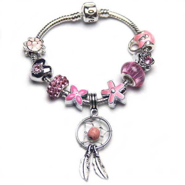 Free ship,Shiny Children Pink Beads European Charm Bracelet,Dream catcher Pendant Girl Jewelry,clover,flowers,tortoise,Heart,handbags,Love snake bone chain,Sister,daughter,customizable,Wholesale or retail