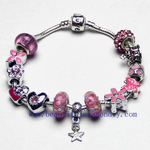 Fashion shiny pink charm bracelet,LOVE,Star pendant women jewelry,Butterfly, flower,crown,bag,snake bone chain,custom,Wholesale or retail