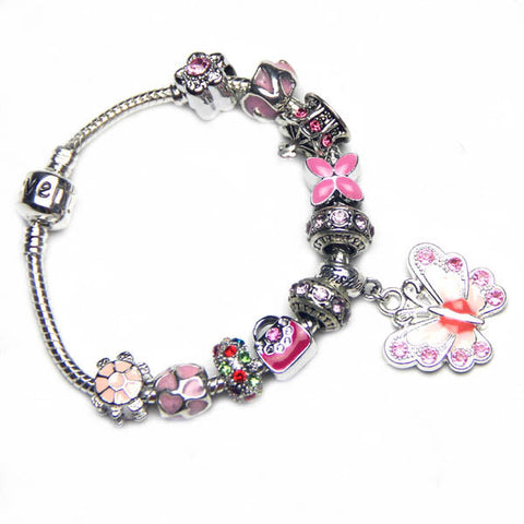 Free ship Fashion Shiny Pink Charm Bracelet,love,butterfly Pendant Women Jewelry,heart-shaped,flower,tortoise,crown,handbags,customized,Heart,snake bone chain,custom,Wholesale or retail