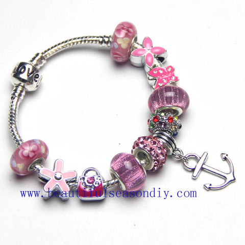 Sparkling Children's pink charm bracelet,LOVE,Anchor pendant women jewelry,Butterfly, flower,bag. Daily jewelry,custom,snake bone chain,Wholesale or retail.
