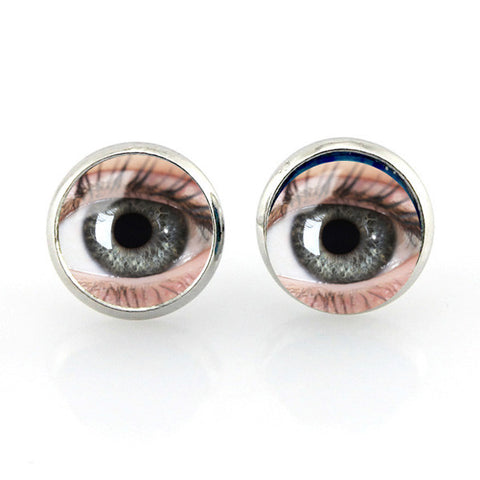 Free shipping,Human eyes picture Stud earrings vintage eyeball photo glass ear pendant women jewelry dragon jewellery gifts,12 mm Women fashion girl Jewelry Glass handmade,Custom Picture