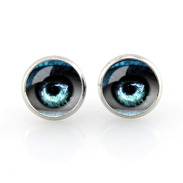 Free shipping,Blue Evil eyes Stud earrings vintage eyeball photo glass ear pendant women jewelry dragon jewellery gifts,12 mm Women fashion girl Jewelry Glass handmade,Custom Picture