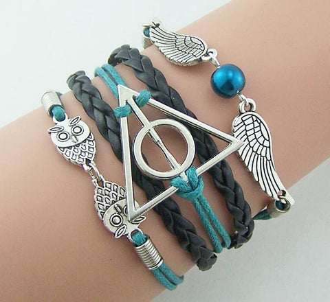 Harry Potter Bracelet Steampunk,Silver or bronze charm jewelry,Black leather Teal rope,Golden Snitch Wings with pearl Bracelet owls bracelet deathly hallows vintage style Men jewelry gift idea for boyfriend,handmade,Wholesale or retail