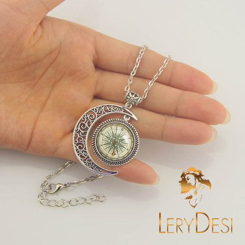 LERYDESI Free shipping,Compass necklace,Silver Compass jewelry,Compass Moon charm,night pendant,Unique Friendship Jewelry,gift for best friend,Unisex necklace,man necklace,women jewelry,Nautical pendant Friendship Blessing gift,Wholesale or retail