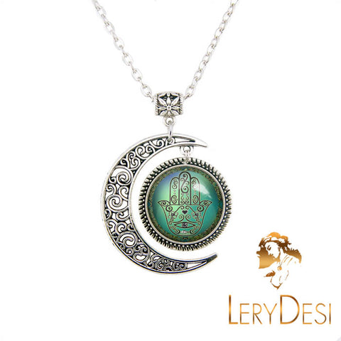 LERYDESI Moon jewelry Chamsa Hamsa Hand of God necklace Evil Eye pendant Hamsa jewelry gifts Handmade,Wholesale or retail