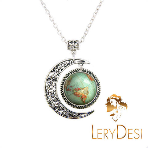 LERYDESI Free shipping,Vintage Globe necklace geography jewelry,Planet Earth World Map Art pendant,Fashion Moon charm jewelry,Unique Friendship Jewelry,gift for best friend,Unisex Nautical pendant Friendship Graduation gift,Handmade,Wholesale or retail