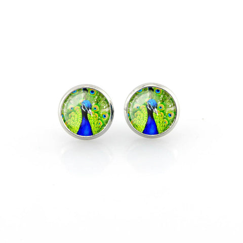 Free shipping,Peacock Stud Earrings blue green feathers jewelry wedding Women earrings Fashion Glass handmade,12 mm