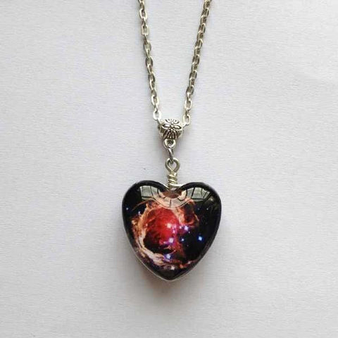 Free shipping,Double sided Helix Nebula pendant,constellation Aquarius Space jewelry,Double-sided glass Nebula necklace,silver chain,Pure handmade,Unique Friendship Jewelry,gift for best friend,Unisex necklace