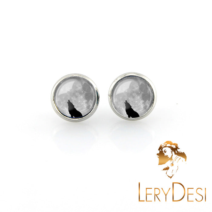 LERYDESI Free shipping,Lonely Wolf Stud earrings vintage grey photo glass pendant women jewelry dark clouds jewellery handmade gift 12 mm
