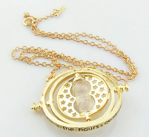 Harr Potte time turner necklace Golden pendant Vintage Creative 360 Degree Rotatable Time Converter Hourglass Pendant jewelry time Turner for children