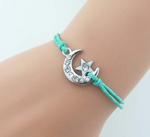 LERYDESI Shiny Crystal Moon Bracelet,Rhinestone Moon With Tiny Star Charm Bracelet,Women Jewelry Gift For Sister,Girlfriend,Mint Rope,Weddings Jewelry,Bridesmaid Gifts,Wholesale Or Retail.