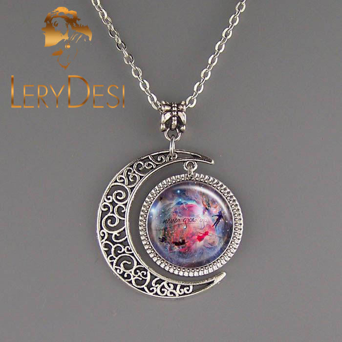LERYDESI Free shipping,Disney Necklace,Peter pan Necklace,Peter pan jewelry,Peter pan pendant,never grow up,gift for best friend,Unisex Fairy tale story necklace,kid jewelry,Graduation gift child,handmade,custom picture.