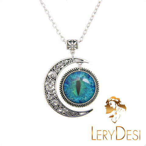 LERYDESI Free shipping,Turquoise cat's eye Necklace blue and black eye jewelry,animal eye pendant,Custom Picture Jewelry Gifts for Women,man,kid.