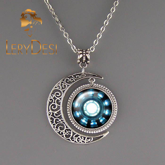 LERYDESI Free shipping,Iron man heart,Tony Stark Inspired Arc Reactor necklace Iron Man jewelry Moon Pendant Handmade,Wholesale or retail,Friendship gift,Fashion jewelry