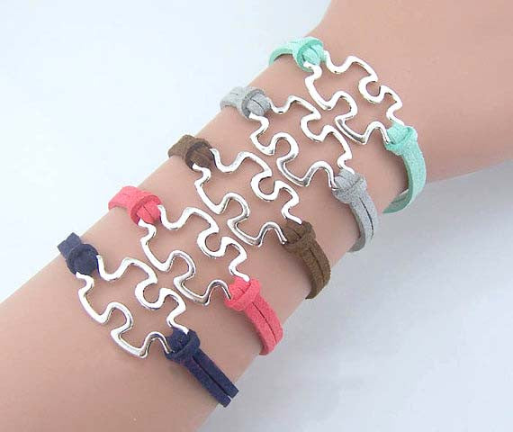 Puzzle Piece bracelet,Autism Awareness Bracelet silver,JigSaw Puzzle bracelet,Graduation, Customize Choose your color,Wholesale or retail