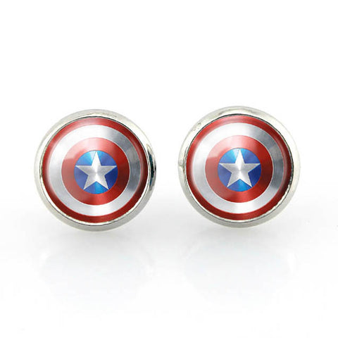 Free shipping,Captain America Shield Stud Earrings Superhero jewelry women student Fashion girl handmade,12 mm diameter