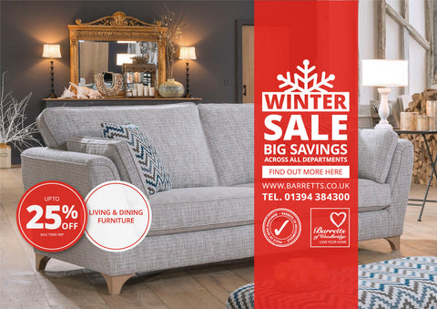 Barretts Winter Sale - 15% off all Sofas, Sofabeds, Armchairs, and Recliners