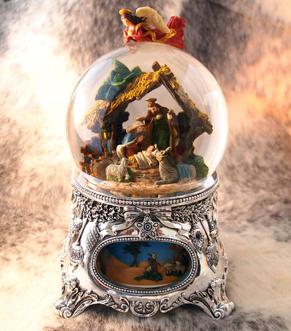 German Musical Snow Globes from Barretts - Nativity Scene