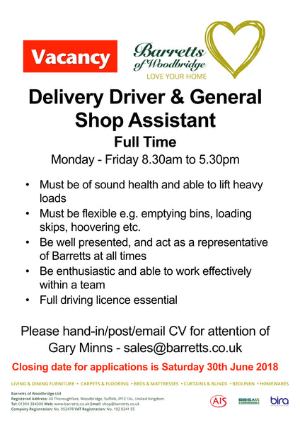 Wanted - Full Time Delivery Person & Shop Assistant