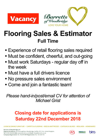 Flooring Sales & Estimator job vacancy