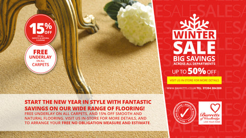 Barretts Winter Sale - Free Underlay & Free Fitting on all Wool Carpet