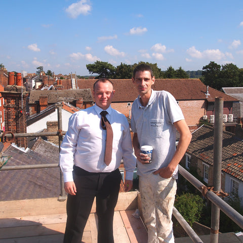 Barretts Head of Operations Gary Minns with Chris Foster of Suffolk Painting & Decoration Ltd singing 'Up on the Roof' in close harmony...