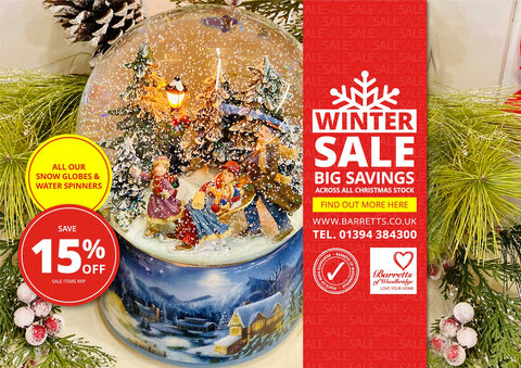 15% off all Musical Snow Globes and Water Spinners!