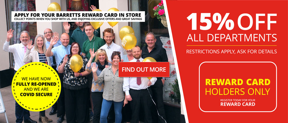 Barretts Grand Re-Opening - 15% off for Reward Card Holders
