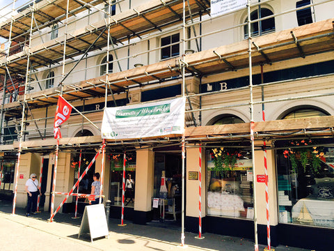 Barretts Summer Painting - store covered in Scaffolding