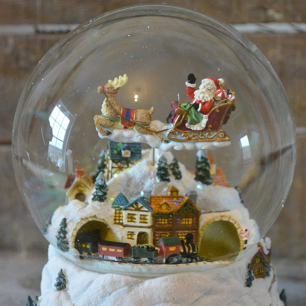 'Flying Santa & Train' Christmas Musical Snow Globe
