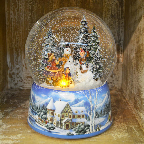 'Large Build a Snowman' Christmas Musical Snow Globe (No. 48039)