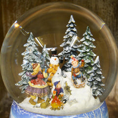 'Large Build a Snowman' Christmas Musical Snow Globe