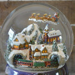 'Large Flying Santa & Train' Christmas Musical Snow Globe