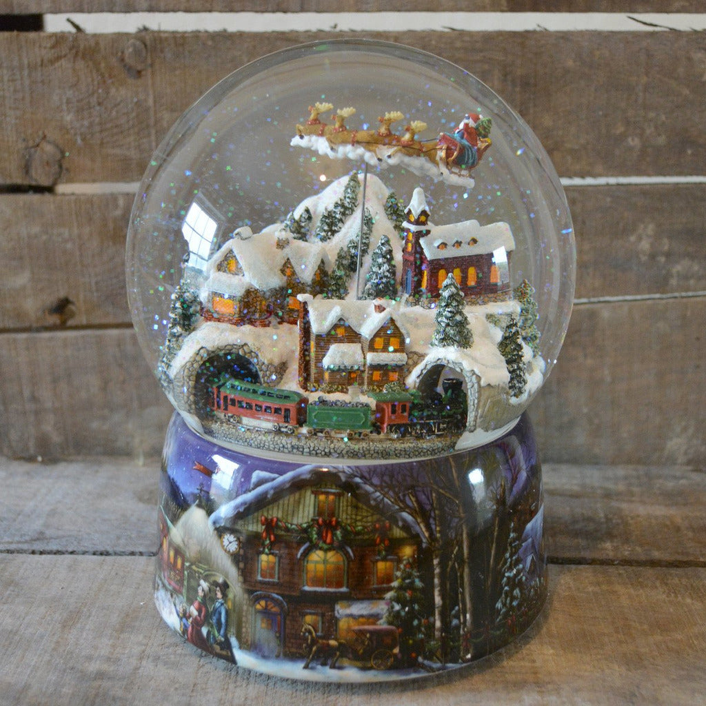 large flying santa train christmas musical snow globe - Large Christmas Snow Globes