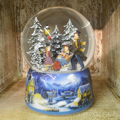 'Sledging' Christmas Musical Snow Globe