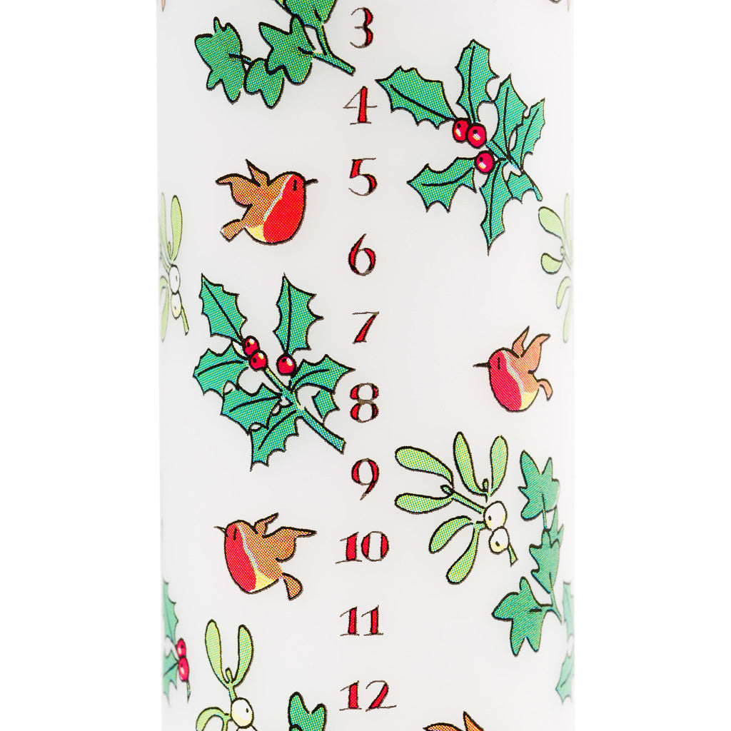 Holly and the ivy advent pillar candle