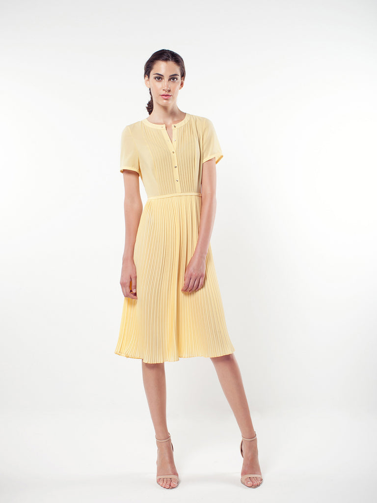 Pintuck Tee Sleeve Pleated Dress
