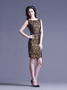 Gold Silk and Black Lace Dress