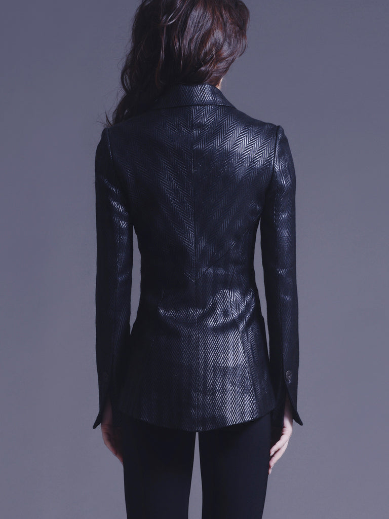 Tailored Herringbone Jacquard Jacket