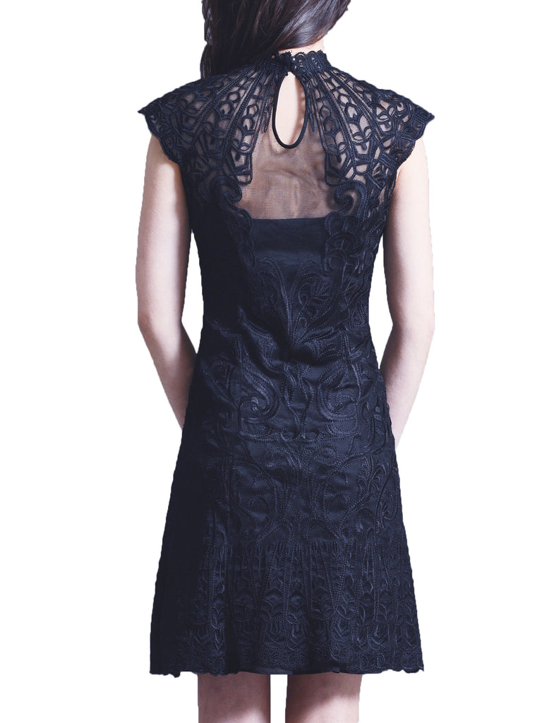 Embroidery lace cap sleeve dress
