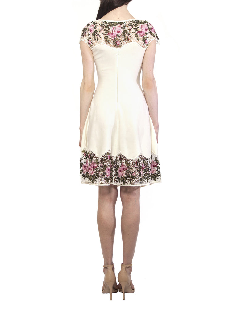 Cream Knitted Embroidery Dress