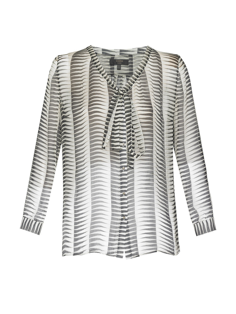 Black and White Print Silk Blouse