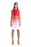 Red to White Silk Organza Ombre Sleeveless Dress