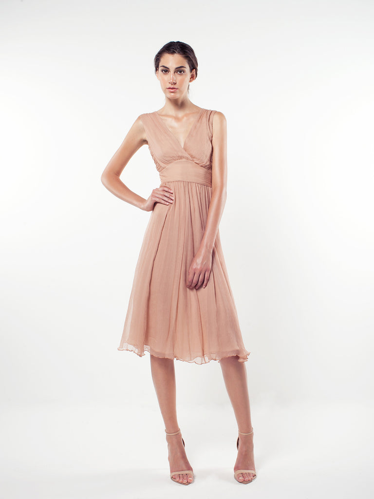 Emily Berrington - Silk Chiffon Cross Front Midi Dress