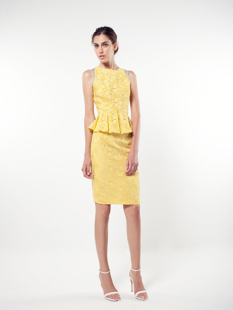 Yellow Embroidery Floral Organza Pencil Skirt