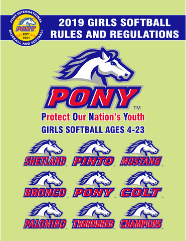Director Promo Item - 2019 PONY Girls Softball Rulebook