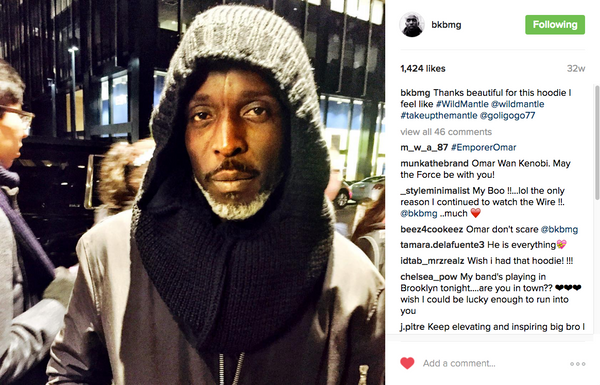 Michael K Williams from HBO's The Wire dons the men's black alpaca hooded scarf by Wild Mantle