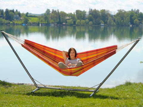 This adjustable steel hammock frame fits most hammocks and is quick and easy to assemble. Suitable indoors or outside. Holds 200kg. Free UK delivery.