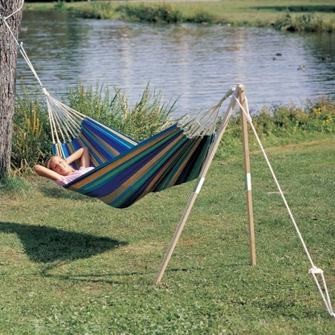 Our single end hammock post is a free-standing A Frame to hang one end of a hammock. Pegs into soft ground. Light and portable - a great camping hammock stand.